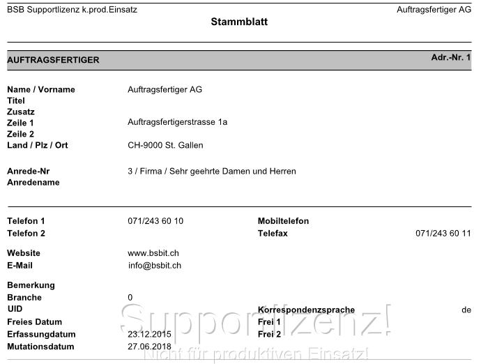 Adressstammblatt